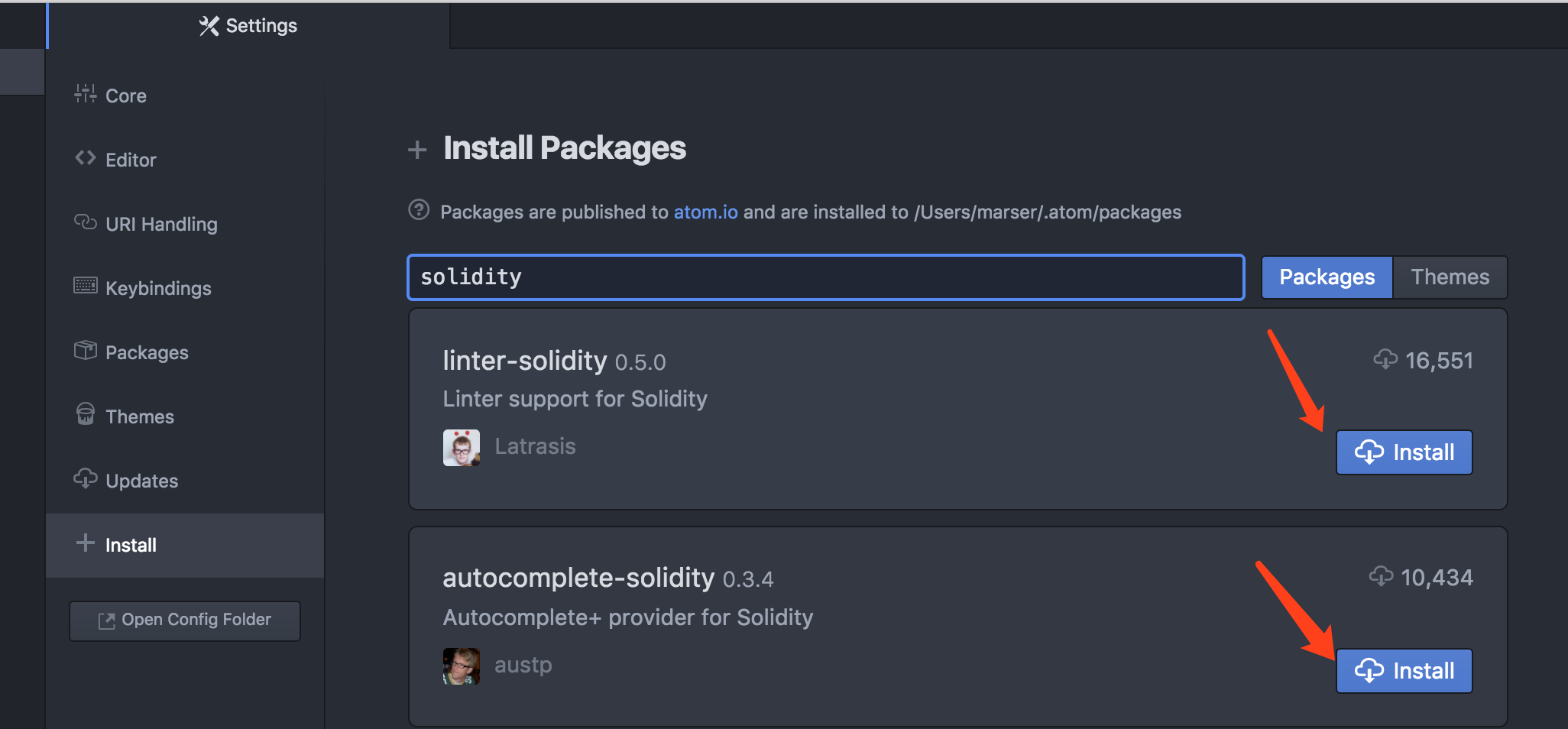 install solidity plugins